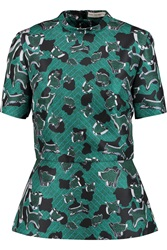Mary Katrantzou Bruno Printed Twill Peplum Top Green