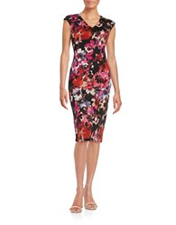 Maggy London Floral Sheath Dress Floral Black