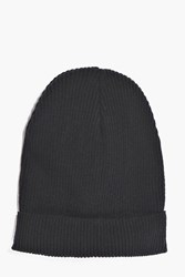 Boohoo Weight Ribbed Slouch Beanie Black