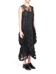 Simone Rocha Asymmetrical Hem Lace Dress Black