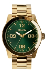 Nixon 'The Corporal' Bracelet Watch 48Mm Gold Green