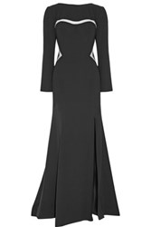 Mikael Aghal Mesh Trimmed Crepe Gown Black