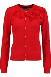 Love Moschino Appliqued Knitted Cardigan Red