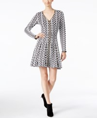Inc International Concepts Jacquard Fit And Flare Sweater Dress Only At Macy's Deep Black