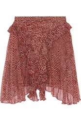 Isabel Marant Meg Printed Silk Chiffon Mini Skirt Red