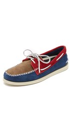 Sperry A O 2 Eye Wedge Suede Boat Shoes Navy Red