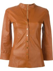 Jitrois Leather Shirt Brown