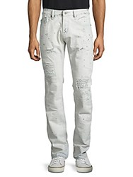 Cult Of Individuality Rebel Straight Leg Stitched And Distressed Jeans Plas