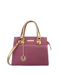 Charles Jourdan Valentina 2 Embossed Leather Satchel Bag Fuchsia