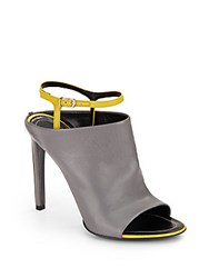 Balenciaga Leather Ankle Strap Mules Gris