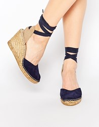 Park Lane Ankle Tie Espadrille Wedge Shoes Navi 173 Navy