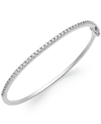 Arabella Sterling Silver Swarovski Cubic Zirconia Bangle Bracelet 1 3 4 Ct. T.W. Clear