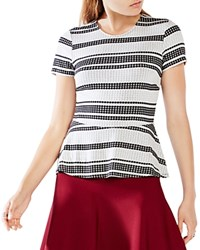 Bcbgmaxazria Karine Striped Peplum Top White Black Combo