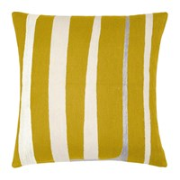 Judy Ross Textiles Stripe Curry Cream Fog Rayon Pillow