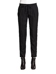 Joie Printed Piping Trimmed Silk Blend Track Pants Caviar