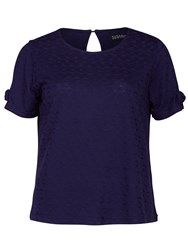 Sugarhill Boutique Iris Textured Boxy T Shirt Navy