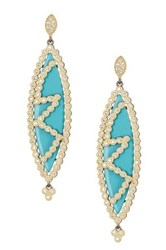 Freida Rothman 14K Gold Plated Sterling Silver Cz And Turquoise Marquise Earrings Black