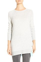Petite Women's Halogen Asymmetrical Snap Detail Tunic Heather Grey Blue Colorblock