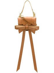 Niels Peeraer Oversized Bow Crossbody Bag Brown