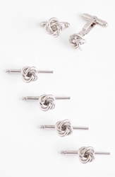 David Donahue Knot Cuff Link And Stud Set Sterling Silver