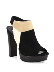 Alice Olivia Hollis Colorblock Suede Peep Toe Slingbacks Black Multi