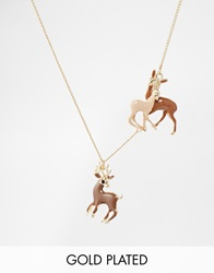And Mary Gold Plate Necklace With Enamel Deer Charms Goldplate