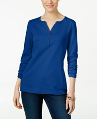 Karen Scott Long Sleeve Henley Top Only At Macy's Bright Blue