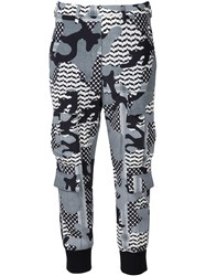 Neil Barrett Patterned Camouflage Trousers Black