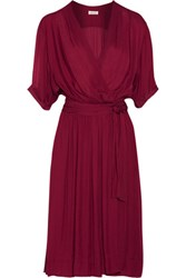 Etoile Isabel Marant Boyce Wrap Effect Chiffon Dress Burgundy