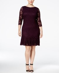 Calvin Klein Plus Size Lace Pleated Sheath Dress Aubergine
