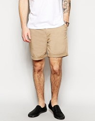 Asos Stretch Chino Shorts In Mid Length Stone