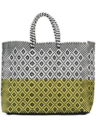 Truss Nyc Woven Tote Yellow Orange