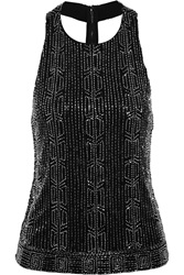 Alice Olivia Brie Embellished Mesh And Crepe Top