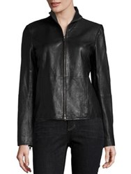 Eileen Fisher Leather Long Sleeve Jacket Black