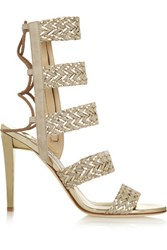 Jimmy Choo Lima Braided Suede And Metallic Leather Sandals Gold
