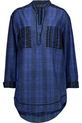 Proenza Schouler Checked Cotton And Silk Blend Tunic Blue