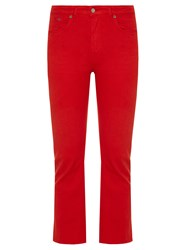 Golden Goose Kick Flare Cropped Jeans Red