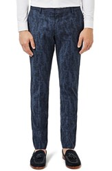 Topman Men's Skinny Fit Abstract Print Suit Trousers