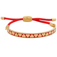 Halcyon Days Heart Friendship Bracelet Red Gold
