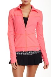 Trina Turk Recreation Jacquard Detail Front Zip Jacket Pink