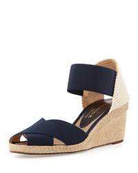 Erika Stretch Espadrille Wedge Navy Andre Assous