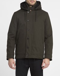 Sandro Khaki Hooded Deck Coat