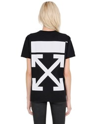Off White Arrow Printed Cotton Jersey T Shirt