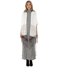 Gabriella Rocha Kenzie Fringed Hooded Poncho Cream Taupe Women's Clothing Khaki