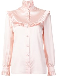 Saint Laurent Ruffle Trim Blouse Pink And Purple