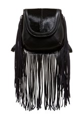 Isabella Fiore Jackson Fringe Genuine Calf Hair Crossbody Bag Black
