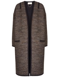 Vanessa Bruno Brown Tweed Felicien Coat Grey