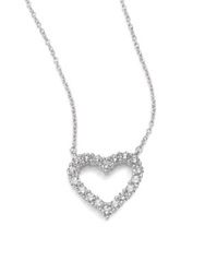 Kwiat Diamond And 18K White Gold Heart Pendant Necklace White Diamond