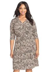 Vince Camuto Animal Print Collared Faux Wrap Dress Plus Size Palomino