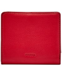 Fossil Emma Rfid Leather Bifold Mini Wallet Crimson